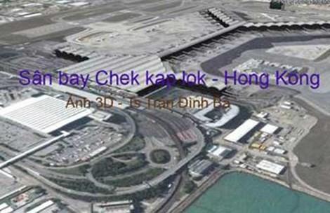 """TS Trần Đình Bá đưa ra hai hình ảnh có một số điểm tương đồng và cho rằng phối cảnh sân bay Long Thành (ảnh trên) đã """"đạo"""" sân bay Chek Kap Lok."""