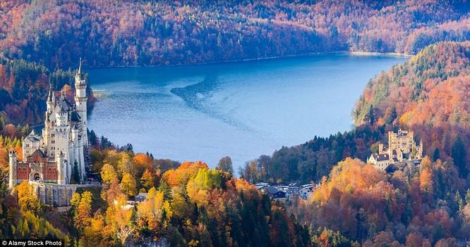 Lâu đài cổ tích mùa thu ở Bavaria, Đức