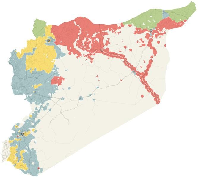 Thay đổi về chiếm cứ lãnh thổ trong 3 năm qua tại Syria