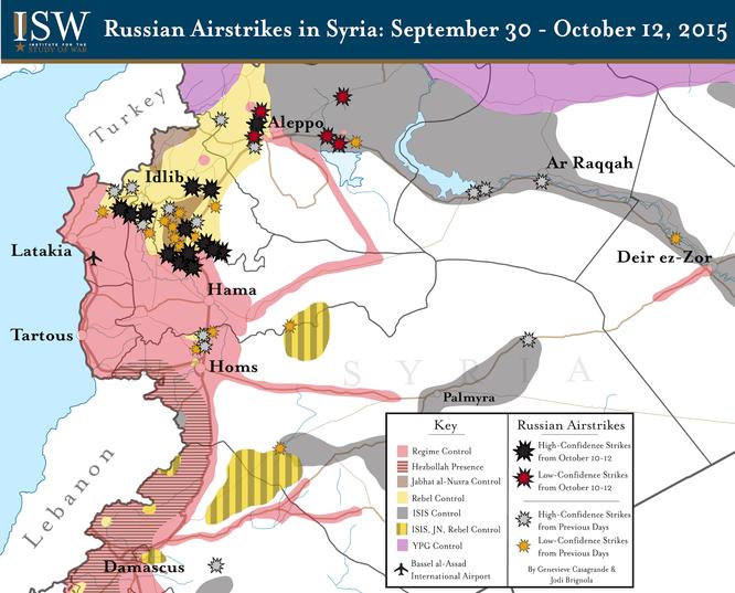 Sơ đồ các khu vực tấn công của không quân Nga tại Syria
