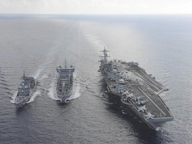 Chiến hạm Nhật Bản đang tập trận cùng tàu sân bay Mỹ ở Biển Đông phòng có biến