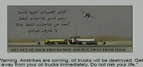 Tờ truyền đơn của Mỹ khuyến cáo IS hãy tránh xa đoàn xe tải sắp bị tiêu diệt