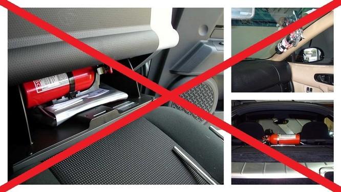Để bình chữa cháy trên xe ô tô có thể không an toàn khi nhiệt độ cao hoặc ảnh hưởng đến thao tác lái xe