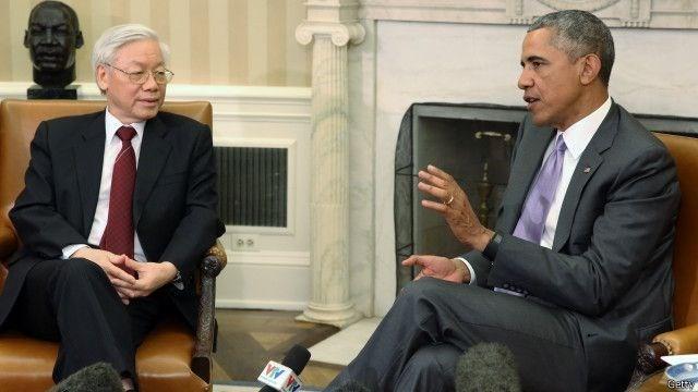 Tổng Bí thư Nguyễn Phú Trọng và Tổng thống Obama trong cuộc hội đàm chưa từng có tiền lệ