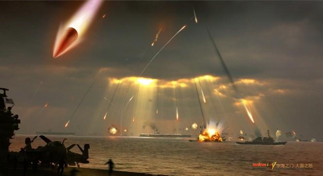 Hình ảnh giả định của Trung Quốc về một cuộc tấn công của các đầu đạn tên lửa DF-21D vào các tàu chiến Mỹ