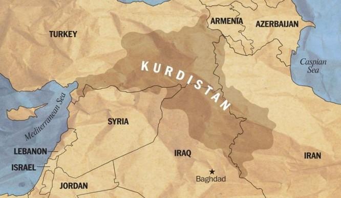 Sơ đồ phân bố người Kurd ở khu vực Trung Đông