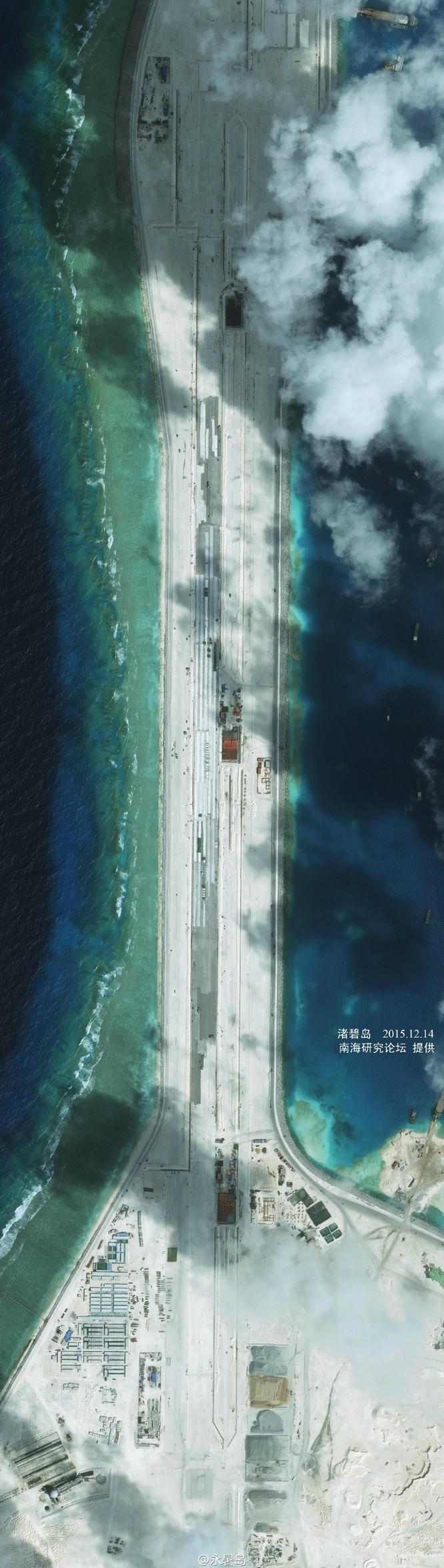 Đá Xu bi đang được Trung Quốc ráo riết bồi lấp, xây dựng thành căn cứ quân sự kiên cố với đường băng dài 3.000m