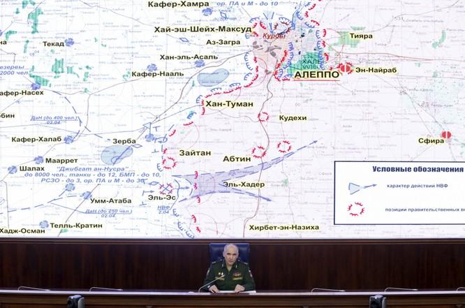 Tướng Sergeu Rudskoi thuộc Bộ tông tham mưu quân đội Nga trong cuôc họp về tình hình chiến sự Aleppo tại Moscow ngày 11/4