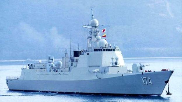 Khu trục hạm Hợp Phì của hải quân Trung Quốc tham gia cuộc tập trận trái phép trên Biển Đông