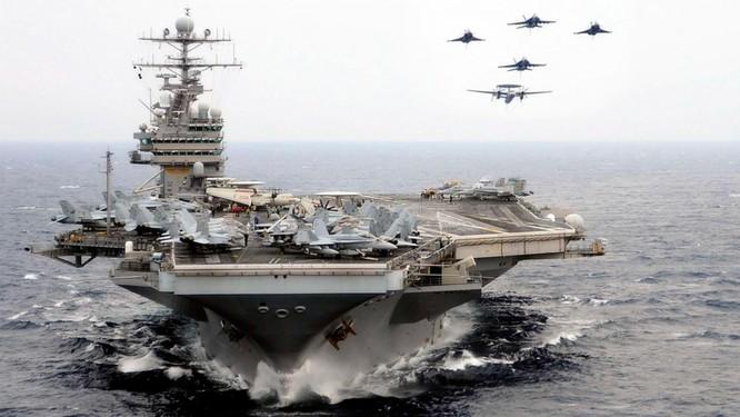 Trung Quốc càng hung hăng leo thang, Mỹ sẽ càng can thiệp mạnh hơn vào Biển Đông. Ảnh: Cụm tác chiến tàu sân bay Mỹ