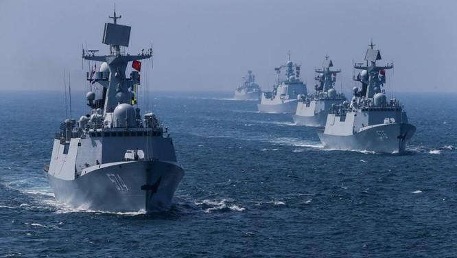 Chiến hạm Trung Quốc trong cuộc tập trận với Nga ngoài khơi Quảng Đông vừa qua