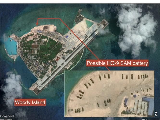 Quân đội Trung Quốc đã triển khai chiến đấu cơ J-11, tên lửa phòng không HQ-9, chiến đấu cơ J-11B và tên lửa chống hạm tại đảo Phú Lâm ở quần đảo Hoàng Sa