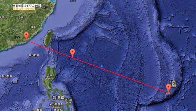 Khu vực 40 máy bay Trung Quốc kéo ra tập trận ở tây Thái Bình Dương