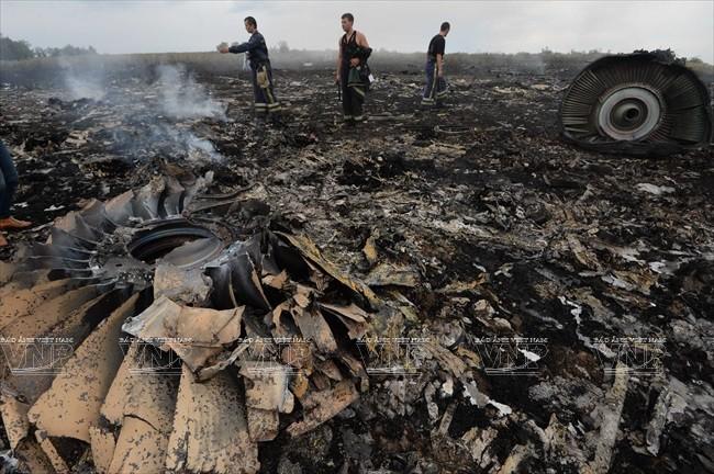 Hiện trường vụ chiếc máy bay mang số hiệu MH17 của Malaysia bị rơi ở tỉnh Donetsk, miền đông Ukraine ngày 17/7. Ảnh:THX/TTXVN