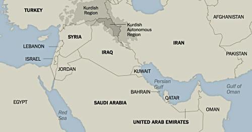 Bản đồ khu vực Trung Đông. Đồ hoạ: NewYorkTimes