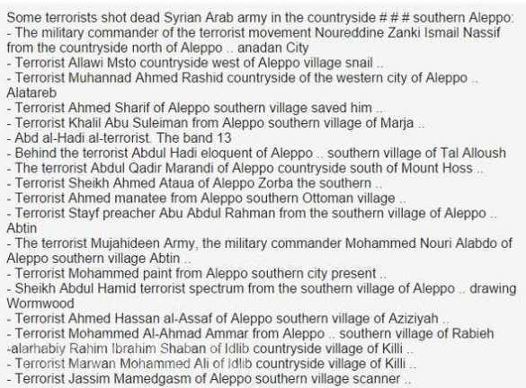 """""""Timur"""" công bố danh sách các chiến binh khủng bố IS thiệt mạng ở Aleppo ảnh 2"""
