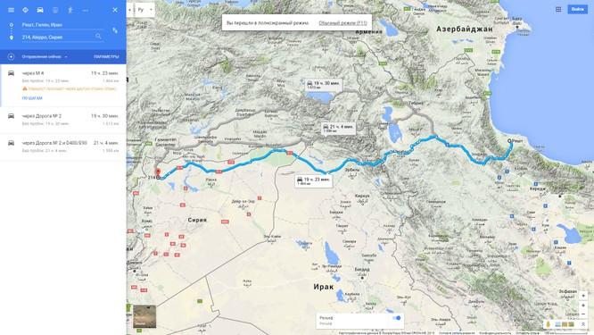 Bản đồ từ Iran đến Syria