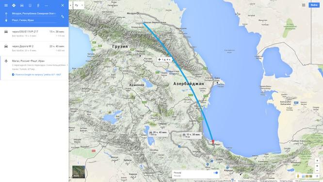 Bản đồ bay từ căn cứ Mozdok đến Iran