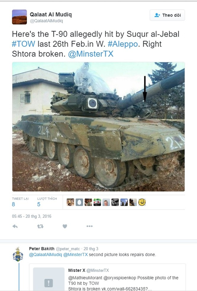 T-90 trúng đạn TOW-2A, hư hỏng ở mức độ tối thiểu ảnh 1