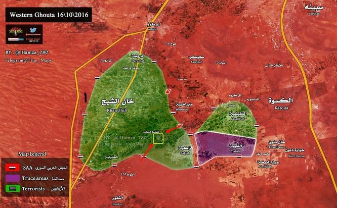 Quân đội Syria bao vây phong tỏa thị trấn then chốt Tây Ghouta ảnh 1