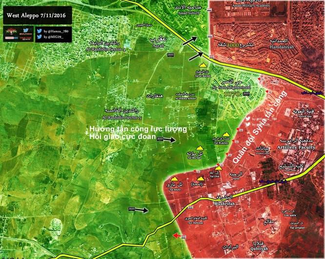 Quân đội Syria dội bão lửa đánh chiếm hành lang phía tây nam thành phố Aleppo(video) ảnh 1