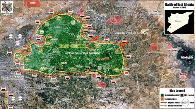 Vệ binh Syria tấn công dữ dội phiến quân khu vực ngoại vi Damacus ảnh 1