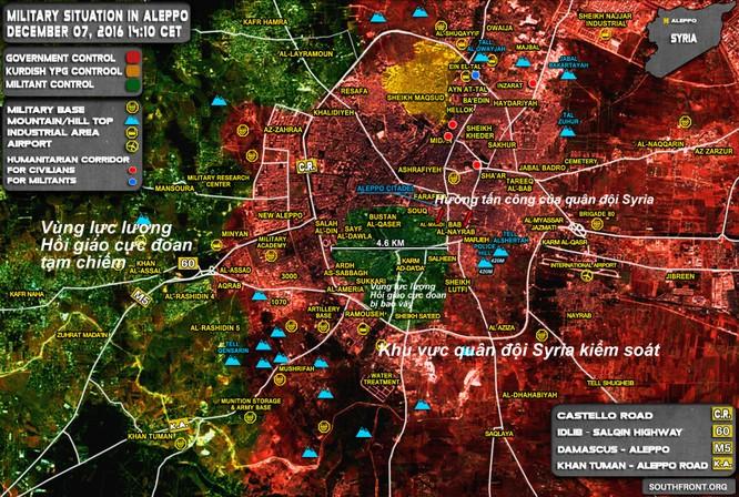 Bản đồ tình hình chiến sự Aleppo ngày 07.12.2016
