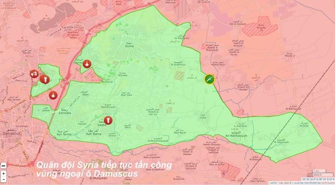 Quân đội Syria tiếp tục tấn công diệt phe thánh chiến ở ngoại ô Damascus ảnh 1