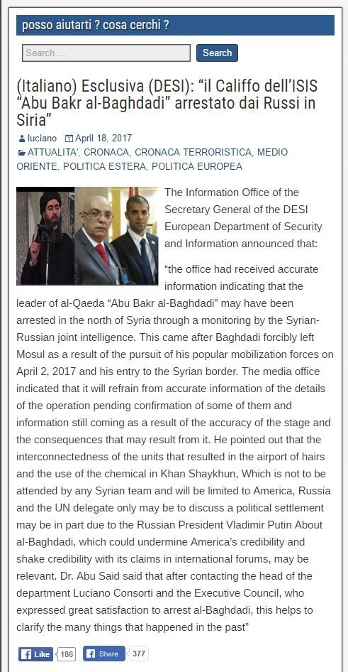 Trùm khủng bố IS al-Baghdadi bị bắt tại Syria? ảnh 2