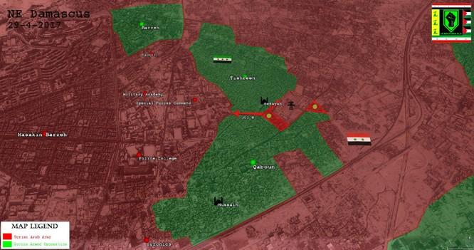 Quân đội Syria vây diệt phe thánh chiến cố thủ ngoại vi Damascus ảnh 1