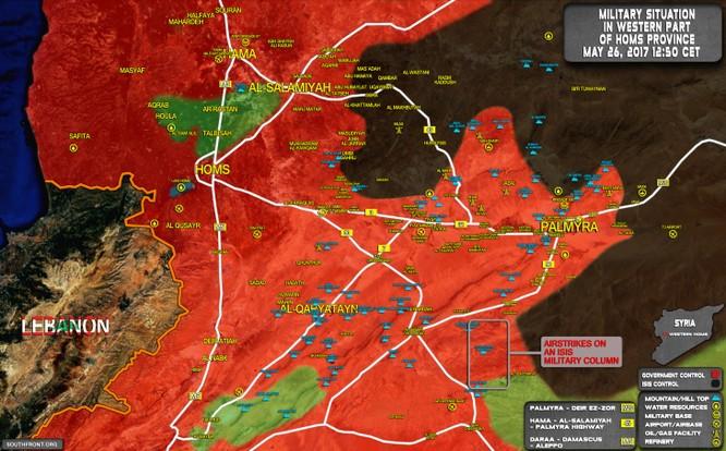 Không quân Nga-Syria huỷ diệt đoàn xe 35 chiếc của IS về sào huyệt Raqqa ảnh 1