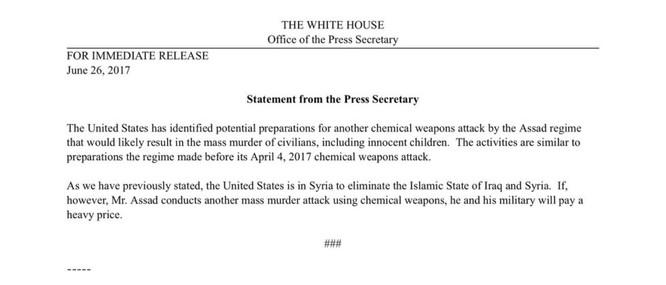 Mỹ lại đe dọa tấn công quân đội Syria với cáo buộc dùng vũ khí hóa học ảnh 1