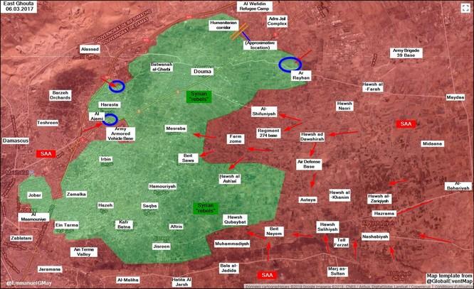 Quân đội Syria đột kích lá chắn thép của phiến quân tại sào huyệt Đông Ghouta ảnh 1