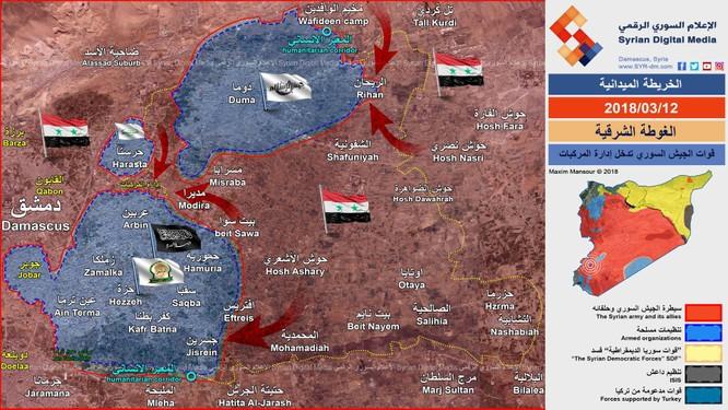 """""""Quả đấm thép"""" Syria cắt Đông Ghouta thành 3 """"nồi hầm"""", hệ thống phòng ngự thánh chiến sụp đổ ảnh 1"""