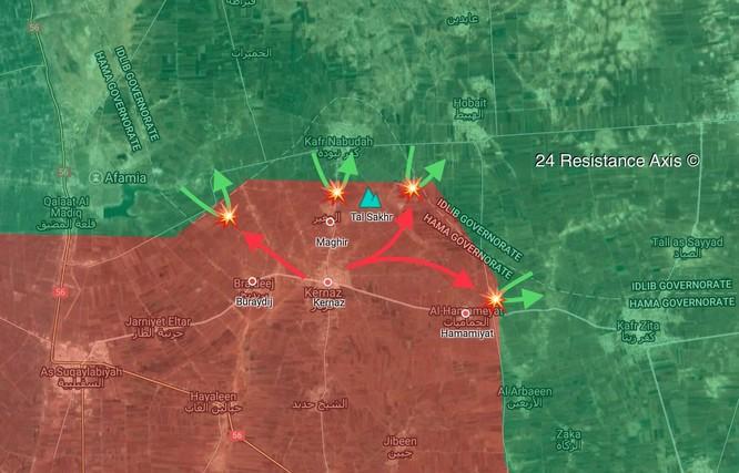 Nga càn quét, quân đội Syria tung đòn chớp nhoáng chiếm lại 2 thị trấn ở Hama ảnh 1