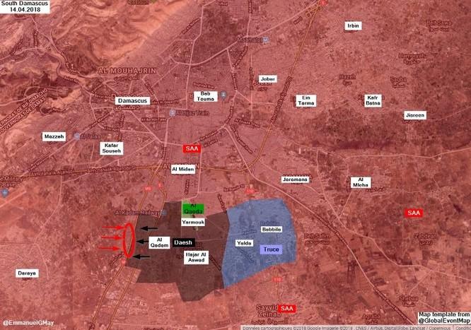 Quân đội Syria sắp giáng đòn kết liễu IS ở nam Damascus sau khi đè bẹp thánh chiến Đông Ghouta ảnh 1