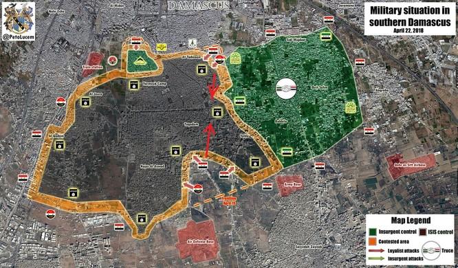 Nga yểm trợ, quân Assad đánh rát IS tại tử địa nam Damasscus ảnh 1