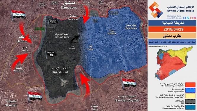 Quân đội Syria siết chặt vòng vây IS trong chảo lửa Yarmouk, chuẩn bị di tản thánh chiến đầu hàng ảnh 1