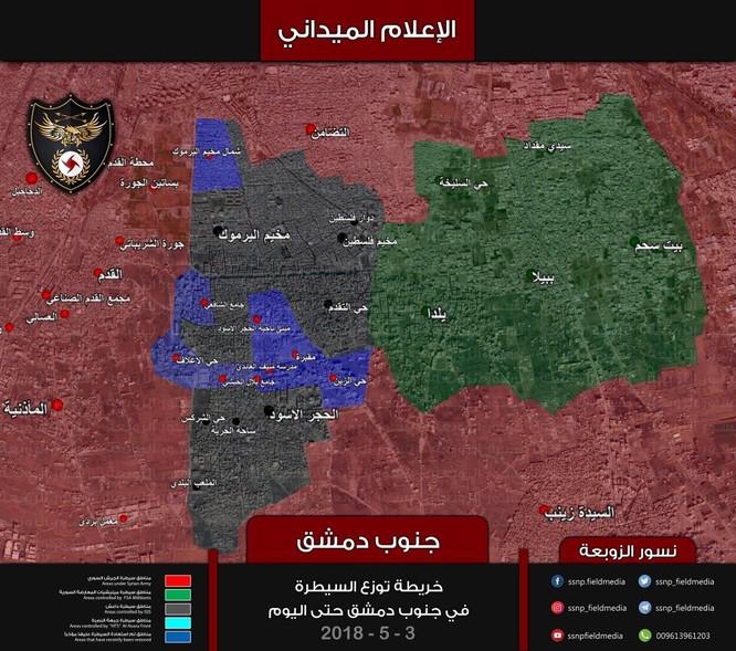 Nga dội lửa, quân đội Syria hợp vây chia cắt IS trong nồi hầm nam Damascus ảnh 1