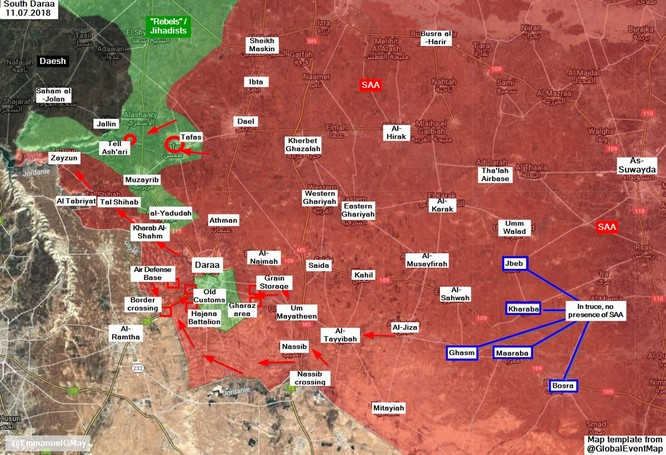 Quân cảnh Nga tiến vào cứ địa thánh chiến tại Daraa, thêm một thị trấn đầu hàng ảnh 1