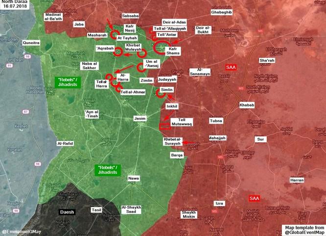 Quân tinh nhuệ Syria ồ ạt đánh chiếm hàng chục cứ địa thánh chiến ở tây Daraa ảnh 2