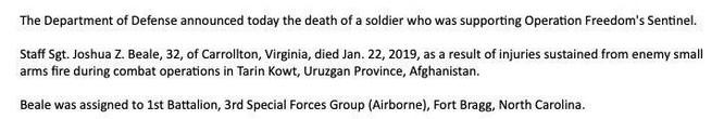 Bộ quốc phòng Mỹ cho biết, 1 đặc nhiệm dù thiệt mạng ở tỉnh Uruzgan, Afghanistan ảnh 1