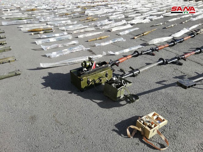 An ninh quân đội Syria lại thu giữ nhiều vũ khí chôn giấu của các nhóm thánh chiến ở Damascus ảnh 1