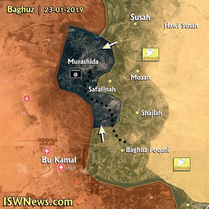 Lực lượng liên minh Ả rập – Kurd tấn công thị trấn cuối cùng trên bờ đông Euphrates ảnh 1