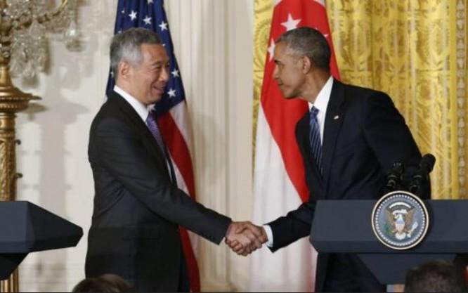 Ngày 2/8/2016, Thủ tướng Singapore Lý Hiển Long và Tổng thống Mỹ Barack Obama tiến hành hội đàm. Ảnh: BBC Anh