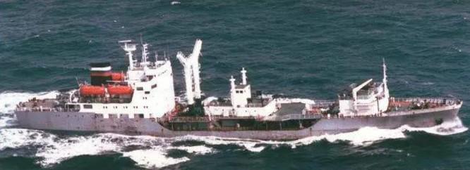 Tàu chở dầu Pechenga Hạm đội Thái Bình Dương Nga. Ảnh: Báo Nhân Dân Trung Quốc.