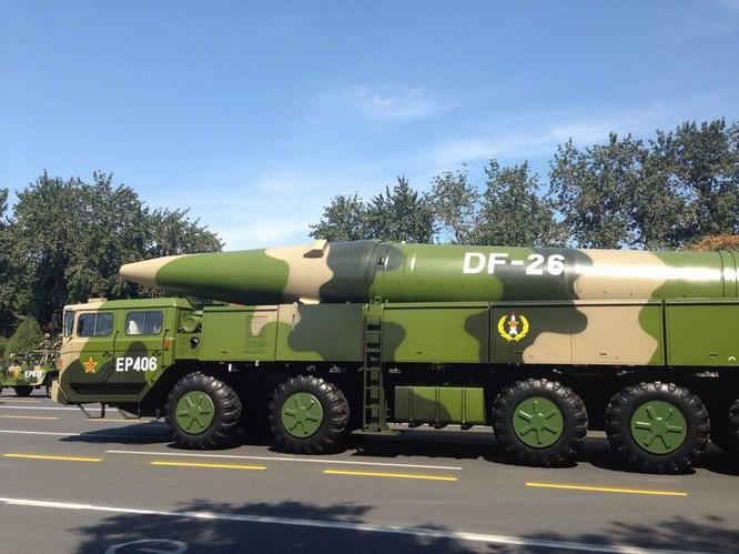 Tên lửa đạn đạo tầm trung Đông Phong-26 Trung Quốc. Ảnh: Thời báo Hoàn Cầu, Trung Quốc.