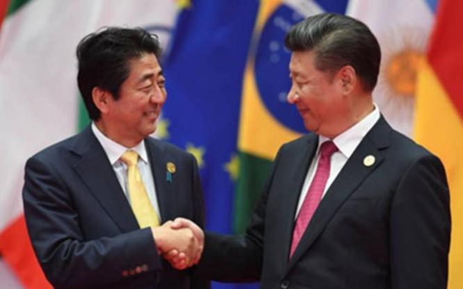 Ngày 5/9/2016, Thủ tướng Nhật Bản Shinzo Abe hội đàm với Chủ tịch Trung Quốc Tập Cận Bình sau Lễ bế mạc Hội nghị Thượng đỉnh G20. Ảnh: VOV