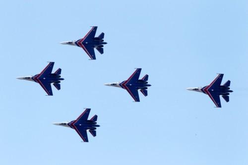 Đội bay nhào lộn Nga tại Triển lãm hàng không Moscow năm 2013 Nga (ảnh tư liệu)