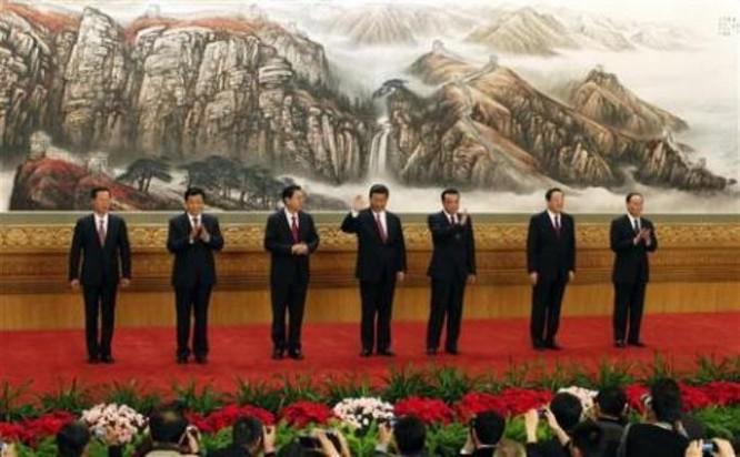 Các Ủy viên thường vụ Bộ Chính trị Đảng Cộng sản Trung Quốc khóa 18. Ảnh: Reuters